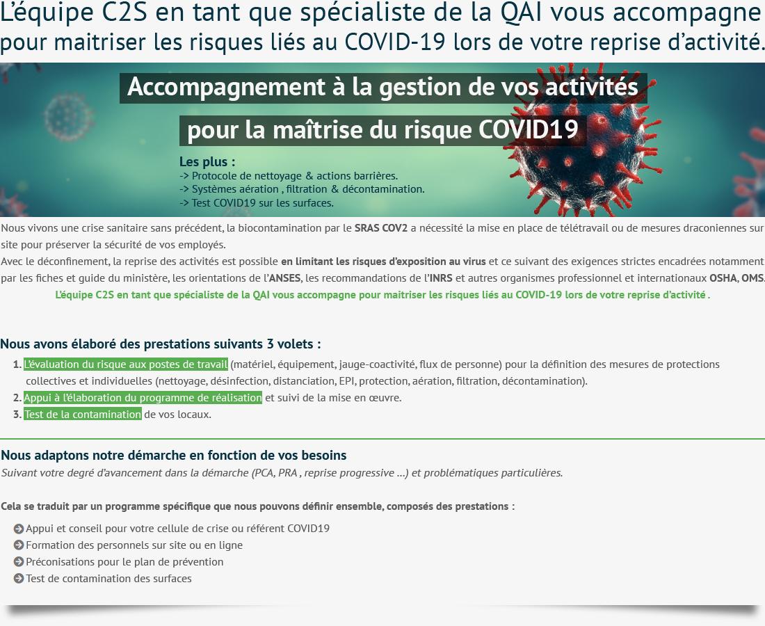 C2S Covid 19 pour maîtriser les risques pour la qualité de l'air intérieur